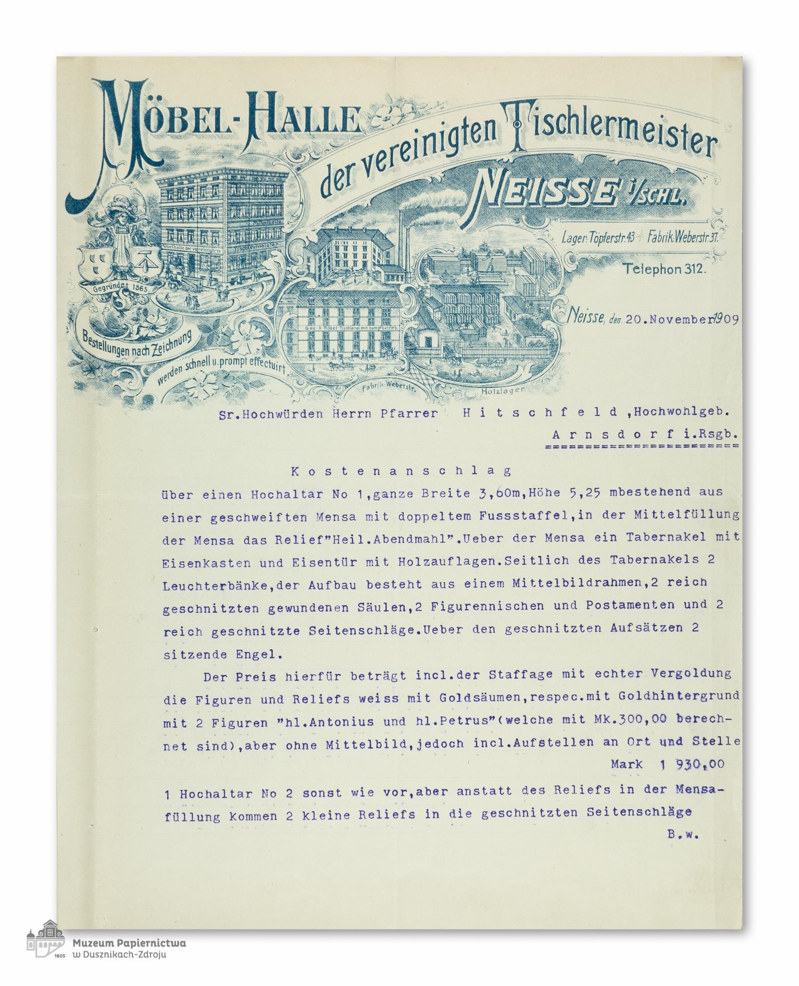 polski kosztorys firmy m bel halle der vereinigten tischlermeister muzeum papiernictwa w. Black Bedroom Furniture Sets. Home Design Ideas