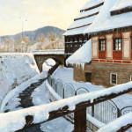 x. 29. W. Kolbusz, Papiernia zimą, olej, 100x78 cm, 2003, wł.  Uzdrowisk Kłodzkich S.A