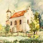 x. 73. W. Kolbusz, Synagoga w Lesku, akwarela, 40x30cm, 1963, wł. autora