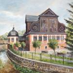 x. 93. W. Kolbusz, Młyn papierniczy od strony północno-zachodniej, olej, 78x60, 2017, zb. Muzeum Papiernictwa w Dusznikach-Zdr.