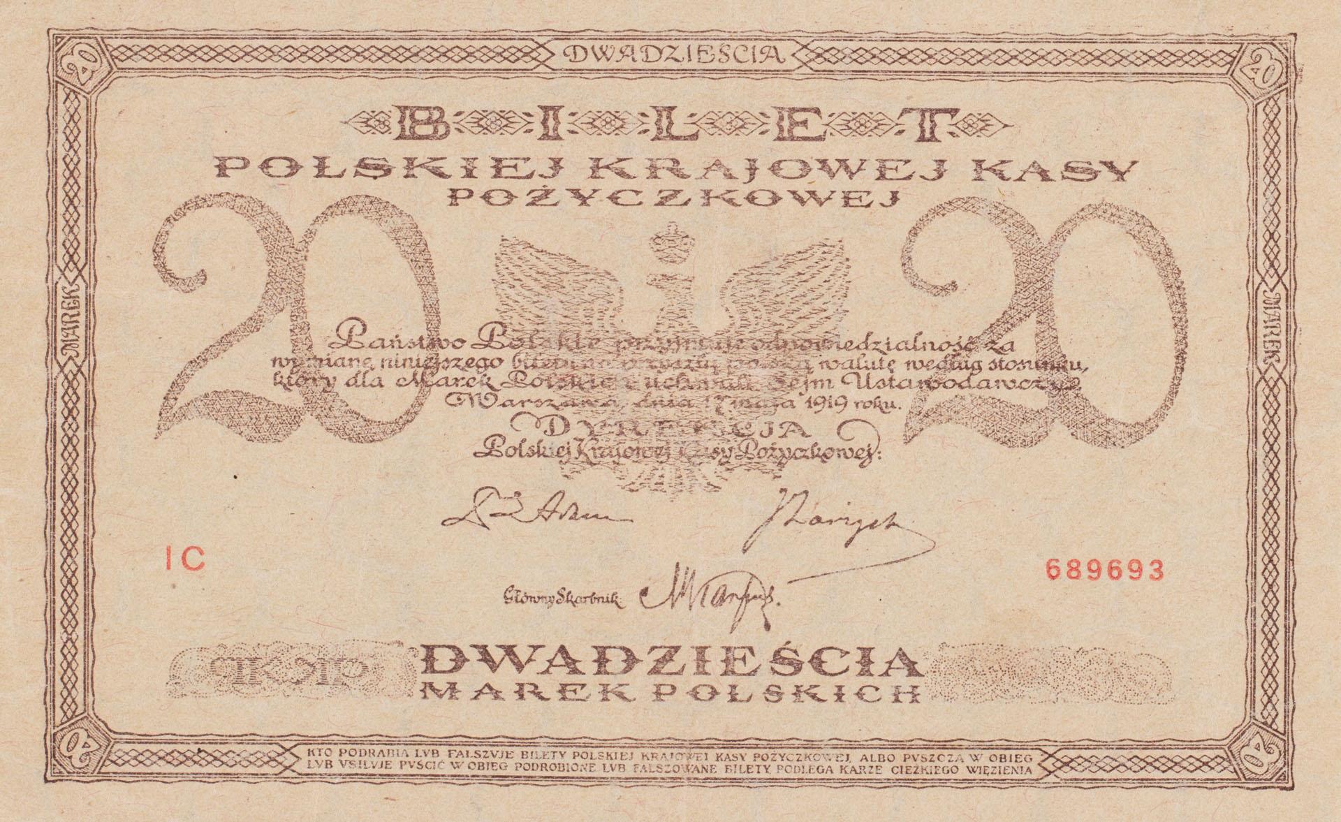 Banknot 20 marek polskich