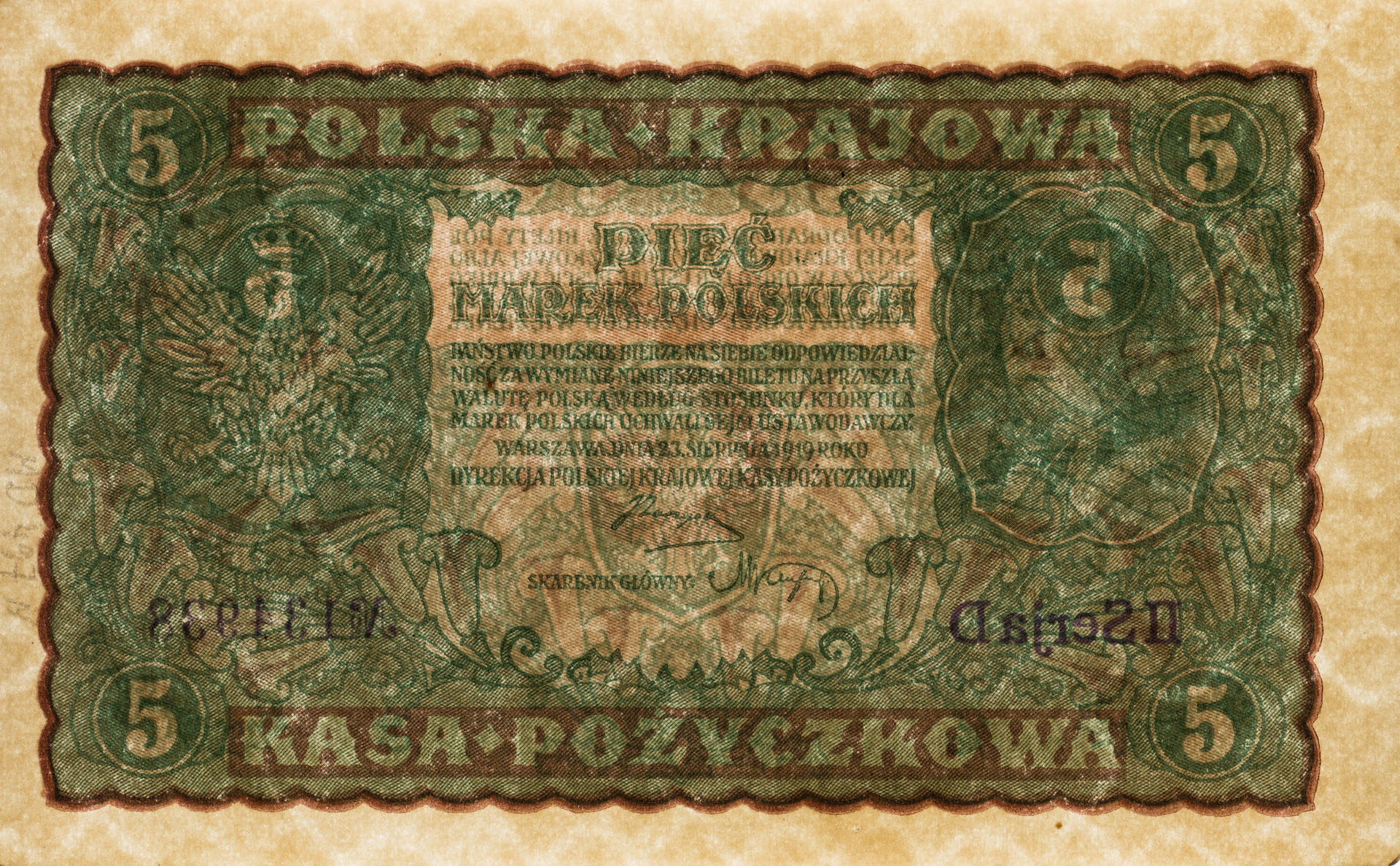 Banknot 5 marek polskich