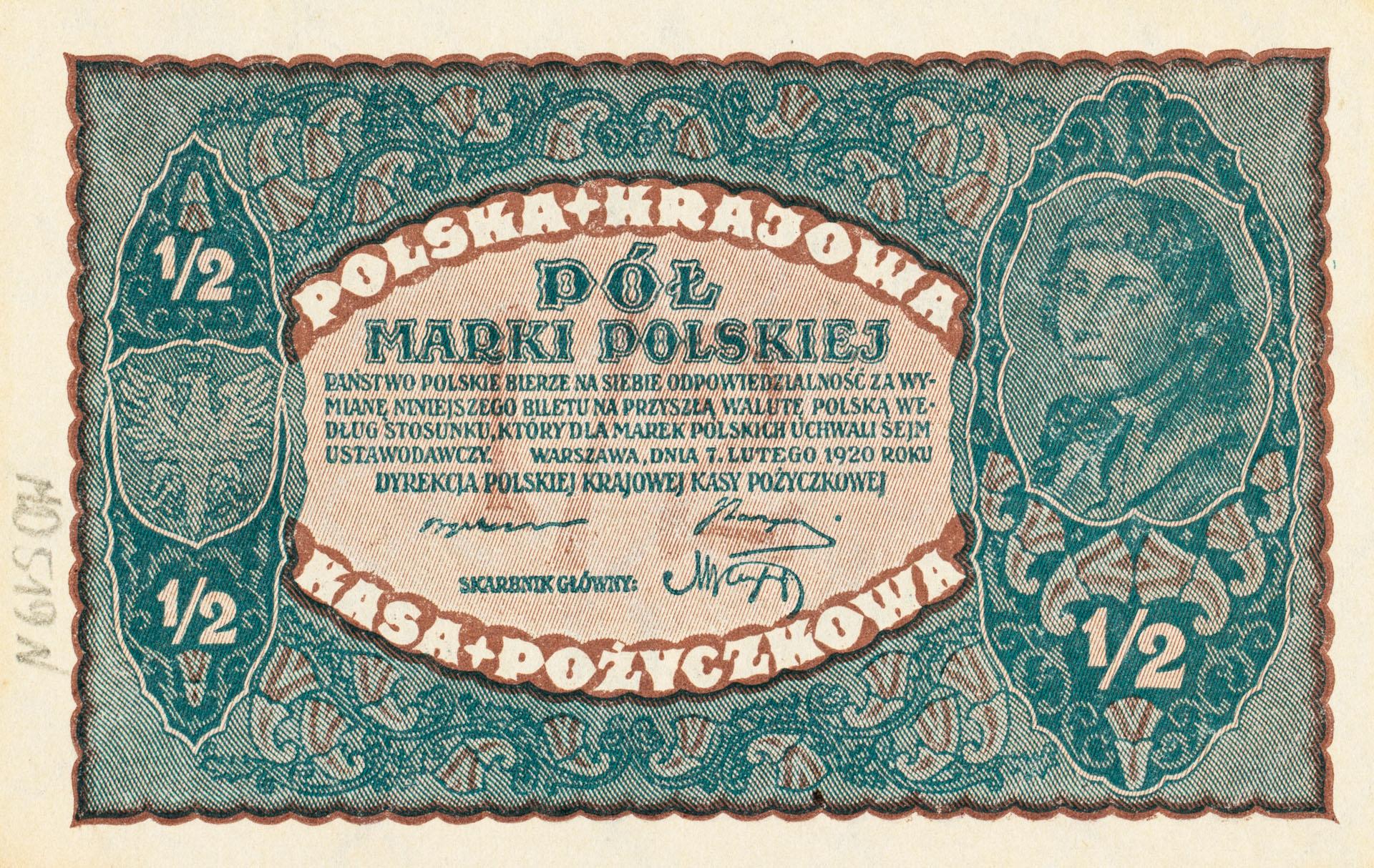 Banknot 1/2 marki polskiej