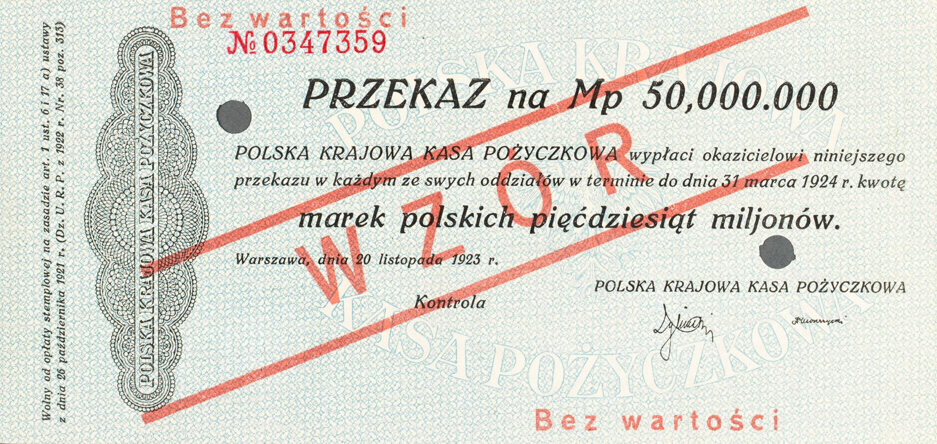 Przekaz 50.000.000 marek polskich