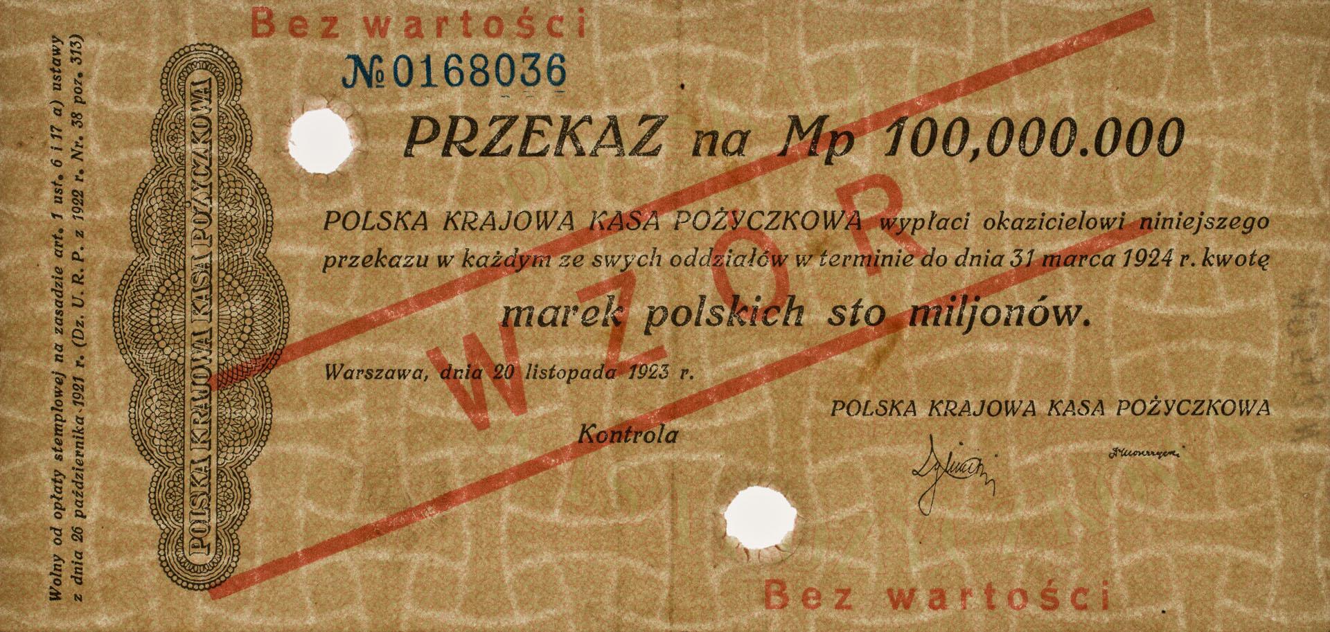 Przekaz 100.000.000 marek polskich